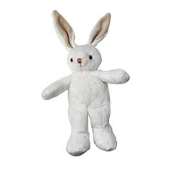 MARCEL lapin Pantin 25 cm Velboa blanc brodé beige