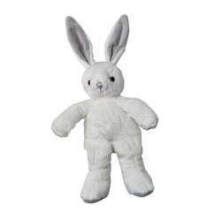 MARCEL lapin Pantin 25 cm Velboa blanc brodé gris