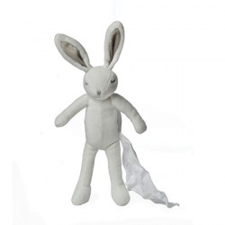 LYNN Lapin avec son ninin 25 cm blanc / gris