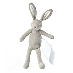 LYNN Lapin avec son ninin 25 cm gris/blanc