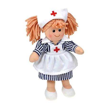 Poupée chiffon LYDIE infirmière 25 cm & sac