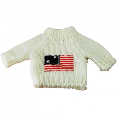 Pull blanc drapeau AMERICAIN